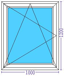 Пластиковое окно 1000×1200 мм