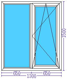Пластиковое окно 1300×1500 мм
